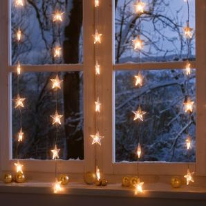 Lichterkette Sternenvorhang - Kunststoff - Weiß, Pure Day