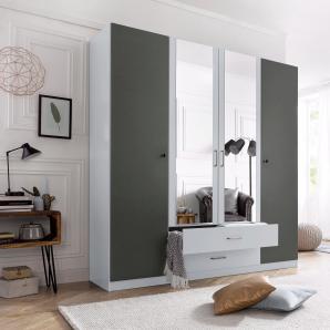 Rauch PACK`S Kleiderschrank mit Spiegel und Schubkästen grau, Breite 180 cm, 4-türig, mit Schubkästen