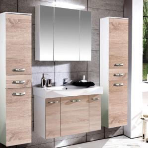 Badezimmermöbel Set TRIEST-04 Sonoma Eiche, weiß Glanz, 80cm Waschtisch & Spiegelschrank, 2 Hochschränke