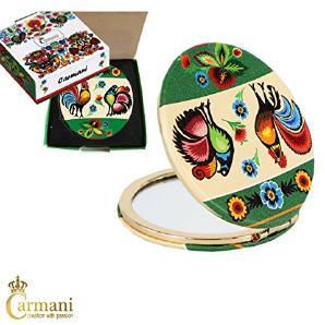 CARMANI - Gold überzogene Bronze Tasche, kompakte, Reisen, Spiegel mit Folk Motiv