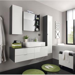 EEK A+, Badezimmerset Casi (4-teilig) - Hochglanz Weiß / Grau, Trendteam