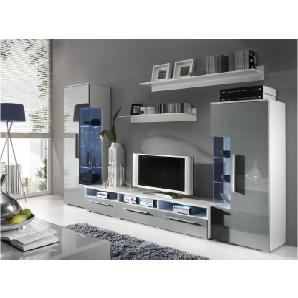 JUSTyou ROMO Wohnwand Anbauwand Schrank Einzelschrankwand Weiß Grau