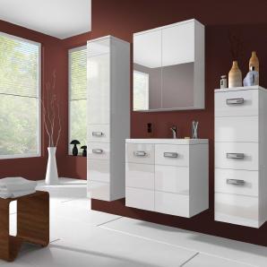 Atira Badezimmerset Bademöbel Komplett Bademöbelset (4-teilig) Weiß