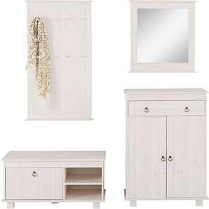 Home affaire Kiefer Garderoben-Set (4-tlg.) »Indra«, weiß, Landhaus Stil, FSC®-zertifiziert