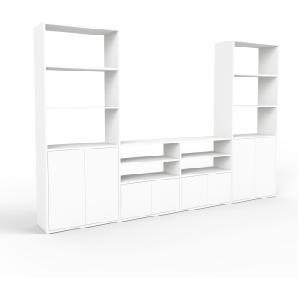Wohnwand Weiß, MDF, 300 x 194 x 35