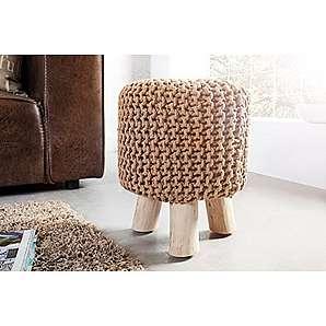 DuNord Design Hocker Sitzhocker Fusshocker BURLEY mit Strickbezug und Massivholz (coffee)