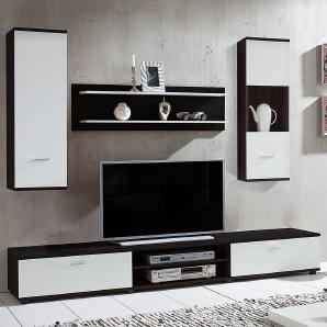 Wohnwand Grinda (4-teilig) - Schwarz/Weiß, mooved