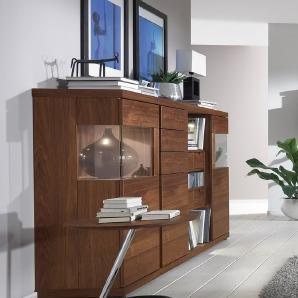 VENJAKOB Highboard »v-plus«, Dekokästen rechts, mit beidseitiger Seitenverglasung, Breite 200 cm