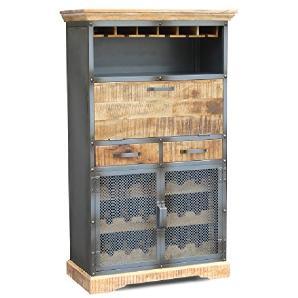 Kommode Schrank Barschrank 86x144cm Detroit Mango natur Metall Holz