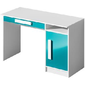 Kinderzimmer - Schreibtisch Walter 09, Farbe: Weiß / Blau Hochglanz - 80 x 120 x 50 cm (H x B x T)