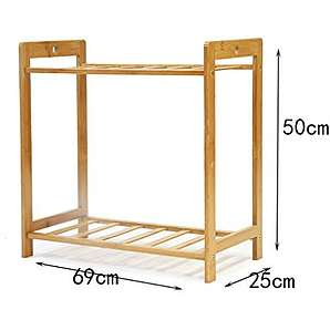 Schuhständer Bambus Schuhe Regale flache Schuhe Display Stand Haus Tür Schuhständer Massivholz Schuhschrank ( Farbe : A , größe : 69cm )