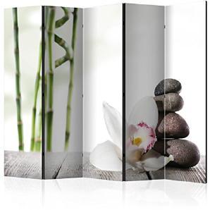murando - Raumteiler Spa Zen Bambus Orchidee Blumen - Foto Paravent 225x172 cm - beidseitig auf Vlies-Leinwand bedruckt - Blickdicht & Textile Haptik - Trennwand - Spanische Wand - Sichtschutz - Raumtrenner - Deko - Design - schwarz grün weiß b-B-0188-z-c