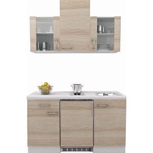 Flex-Well Exclusiv Küchenzeile Akazia 150 cm Akazie Nachbildung-Weiß
