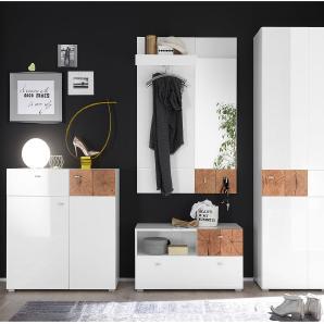 Garderobenset Sibo (4-teilig) - Hochglanz Weiß / Eiche Dekor, mooved