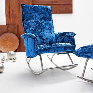 Inosign  Design-Schaukelsessel mit Edelstahlkufe, blau, hoher Sitzkomfort