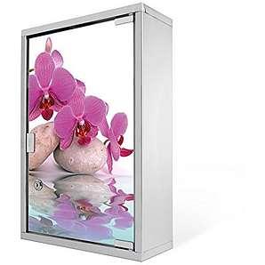 Medizinschrank groß Edelstahl abschließbar 30x45x12cm Arzneischrank Medikamentenschrank Hausapotheke Erste Hilfe Schrank Motiv Orchidee