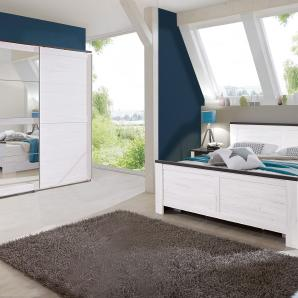 Schlafzimmer-Sparset mit Schwebetürenschrank weiß, Wimex