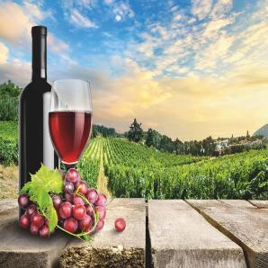 Home affaire Leinwandbild »Wein mit Trauben - Hintergrund mit Weinbergen«, 80/60 cm