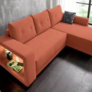 RAUM.ID Polsterecke mit Beleuchtung orange, Mit Bettfunktion, mit Beleuchtung, Energieeffizienzklasse: A, inklusive loser Zier- und Rückenkissen, FSC®-zertifiziert