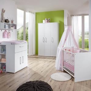 4-tlg. Babyzimmer in weiß, Kleiderschrank B: 130 cm, Wickelkommode B: 87 cm, Babybett 70 x 140 cm