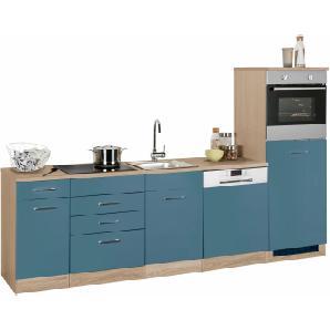 Küchenzeile blau, »Wels«, mit Schubkästen, Held Möbel