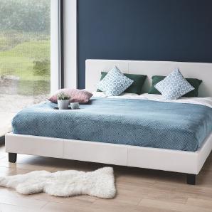 Bett Kunstleder weiss Lattenrost 160 x 200 cm ORELLE