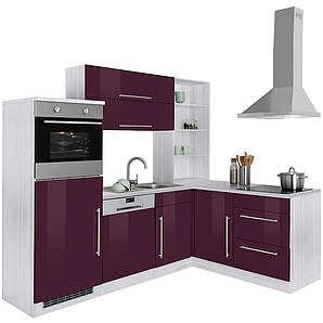 HELD MÖBEL Winkelküche Samos mit E-Geräten Stellbreite 230/170 cm lila