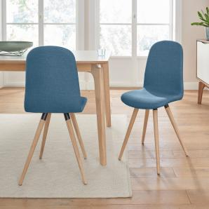 andas Stühle in walnut oder white oak Massivholz, blau, Stoff CORSICA »stick classic«
