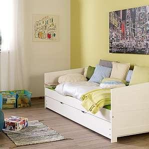 Massivholz Funktionsbett, weiß, Liegefläche 90/200cm, Relita