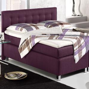 Boxspringbett Dallas - 100x200 cm - violett - Härtegrad H2