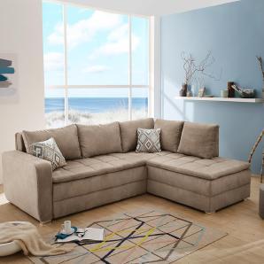 Sofa, Ecksofa mit braunem Bezug in Mattoptik, Nosagunterfederung u. Tonnentaschenfederker, Kaltschaum-Topper, 5 Rückenkissen u. 2 Zierkissen