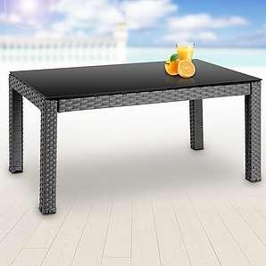 Teetisch von Miadomodo®, 50x45x50cm, in grau, aus Polyrattan geeignet als Beistelltisch,Gartentisch,Balkontisch