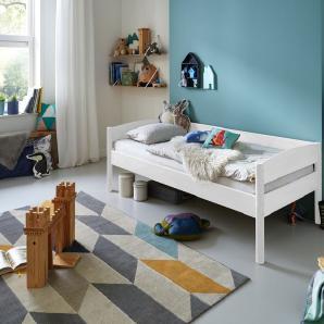 Relita Einzelbett MICHELLE 90x200 cm Buche massiv weiß lackiert