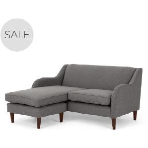 Helena 2-Sitzer Sofa (Récamiere flexibel), Rauchgrau