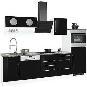 HELD MÖBEL Küchenzeile Keitum ohne E-Geräte Breite 280 cm schwarz