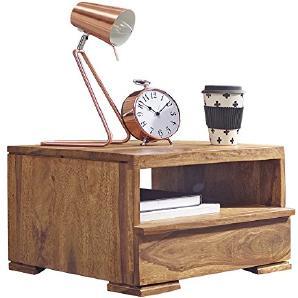 WOHNLING Nachttisch Massiv Holz Sheesham Nacht Kommode 30 Cm 1 Schublade  Ablage Nachtschrank Landhaus Stil Echt Holz Nachtköstchen Dunkel Braun ...
