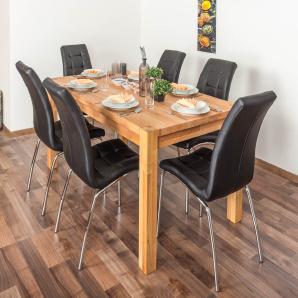 Wooden Nature Esstisch-Set 327 inkl. 6 Stühle (schwarz), Buche Massivholz - 160 x 90 (L x B)