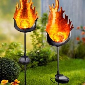 Solar Gartenstecker 2er Set aus Metall schwarz Garten Deko Stecker mit Licht NEU