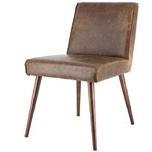Exklusiver Stuhl SASCHA Echtleder Vintage Retro Küchenstuhl Esszimmerstuhl (braun)