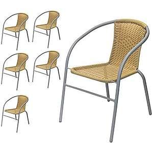 Wohaga® 6er Set Bistrostuhl Stapelbar, Polyrattanbespannung Beige,  Pulverbeschichtetes Metallgestell Grau   Stapelstuhl Gartenstuhl