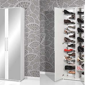 Schuhschrank in weiß, mit 2 Türen (verspiegelt) und 28 Metallschuhböden, Maße: B/H/T ca. 80/197/34 cm