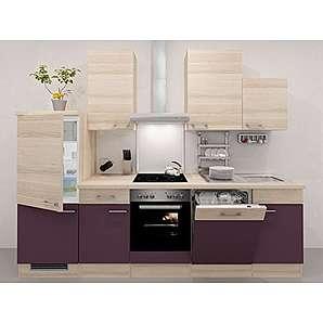Flex-Well Küchenzeile 280 cm Aubergine mit Demi-Schrank - Zafia