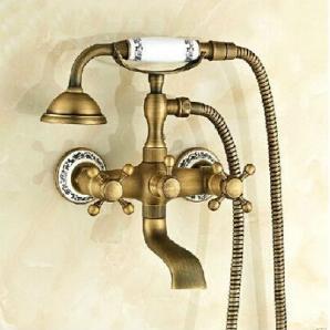 Neues Design Brass Classic anti-Bronze an der Wand montierte Badewanne Armatur Set Bad & Dusche Bad Armatur Wasserhahn Mischbatterie, Weiß
