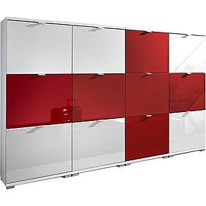Germania 8718-84 Colorado Schuhschrank EM Set England, MDF Hochglanz / Spanplatte, weiß / rot, 30 x 212 x 132 cm