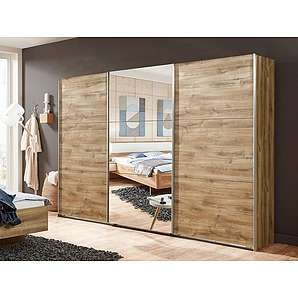 Schwebetürenschrank in Plankeneiche-Nachbildung mit 1 Spiegeltür, 3 Einlegeböden, 3 Kleiderstangen, Maße: B/H/T ca. 270/210/65 cm