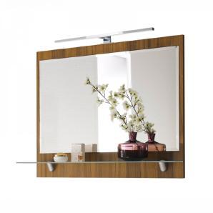 Spiegel RIMAO-100 Walnuss Nb, LED, verchromte Lampe, B x H x T: ca. 90 x 68 x 20 cm