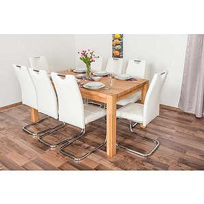 Wooden Nature Esstisch-Set 311 inkl. 8 Stühle (weiß), Buche Massivholz - 160 x 90 (L x B)