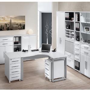 Bürosparset Merit IX (10-teilig) - Icy Weiß/Hochglanz Weiß, Maja Möbel