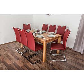 Wooden Nature Esstisch-Set 191 inkl. 8 Stühle (rot), Buche Massivholz - 160 x 90 (L x B)