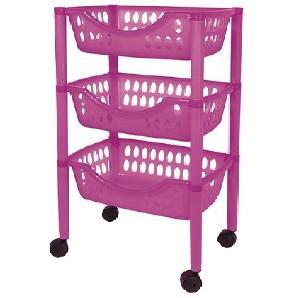 Badezimmer Trolley / Badezimmer Rollwagen Kunststoff in verschiedenen Farben (pink)